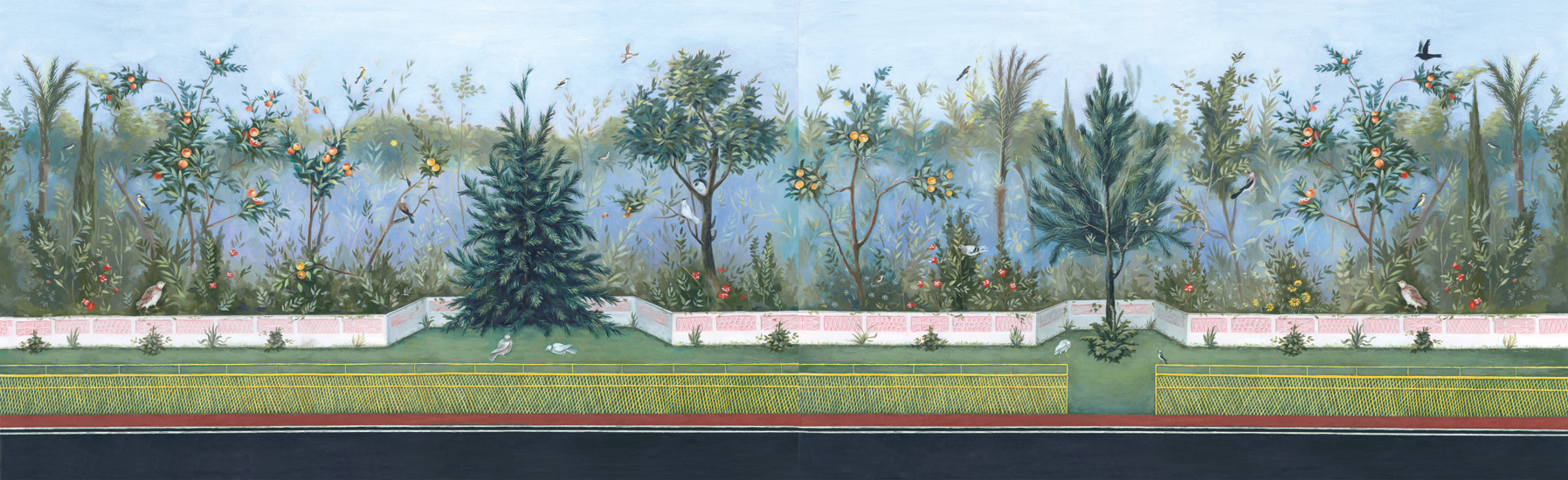 <em>Livia Drusilla Garden Room Fresco</em> reconstruction, acrylic and Photoshop, 15