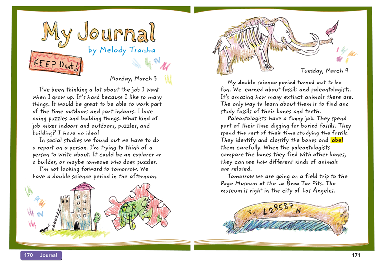 <i>My Journal</i>, pen and ink and crayon and digital