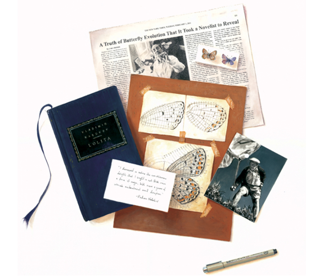 <em>Nabokov and his Butterflies</em> trompe l'oeil, goauche and mixed media, 20